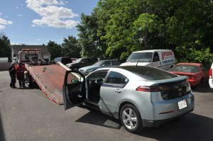 The ACDC Chevy VOLT towed away ... long story
